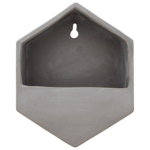 Rivet Modern Hexagonal Earthenware Hanging Indoor Wall Mount Planter Flower Pot- 7.7 Inch, Grey