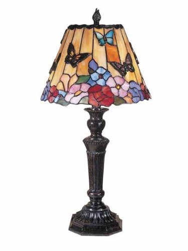 - Dale Tiffany TT100587 Butterfly and Peony Table Lamp, 12