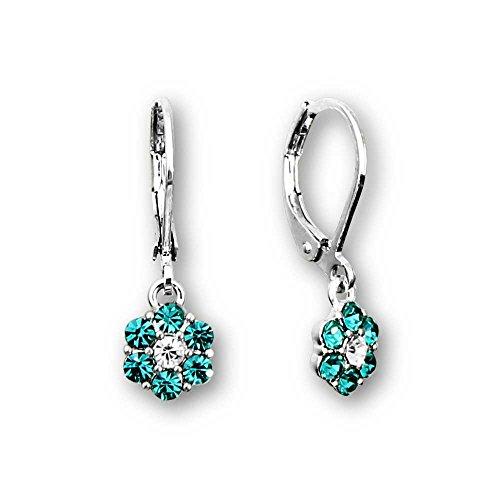 Rhodium Flower (Kids Jewelry Sparkle Flower Crystal Dangle Earrings for Big Girls and Little Girls Earrings | Rhodium Plated Earrings | Leverback Earrings for Kids | Crystal Earrings for Girls Flower Earrings Set)