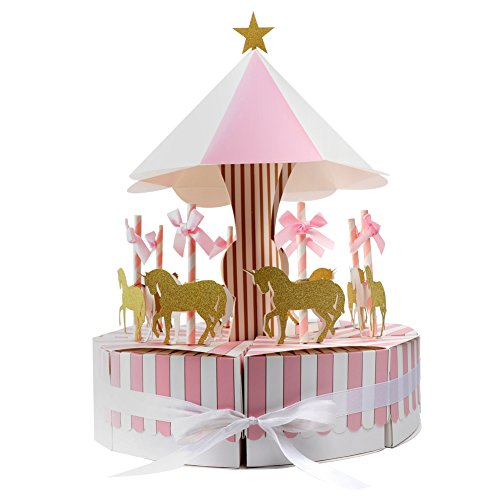 Aytai Carousel Baby Shower Candy Favor Boxes Unicorn Party Supplies Candy Bag Gift Box Table Centerpiece for Wedding Birthday Decorations (Pink) (Babyshower Candy Table)