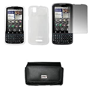 EMPIRE Black Leather Case Pouch with Belt Clip and Belt Loops + Clear Snap-On Cover Case + Screen Protector for Verizon Motorola Droid Pro