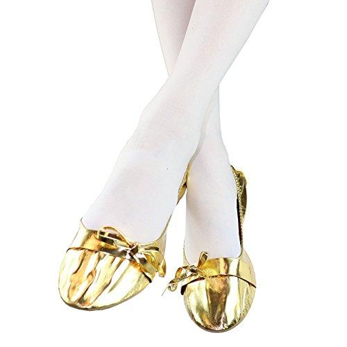 Danzcue Donna Morbido Tacco Scarpe Da Ballo Danza Del Ventre Con Borsa Doro
