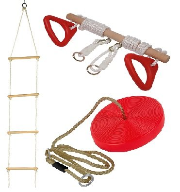 HL SET Of Rope Ladder, Wooden Trapeze Swing & Red Plate Seat Outdoor Garden Toy