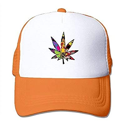 Edwardsxxx Trippy Multi Pot Weed Leaves Mesh Trucker Caps/Hats Adjustable for Unisex Black Orange