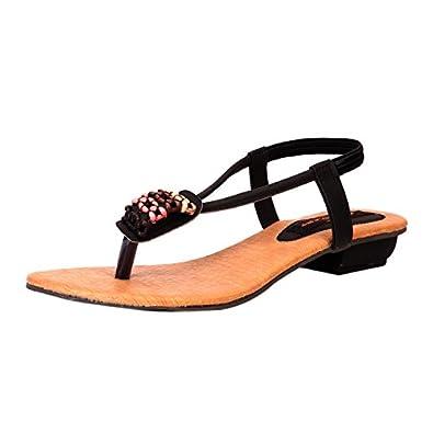 c56de047151 Trilokani Women's Black Synthetic Fashion Sandals - 5 UK: Buy Online ...