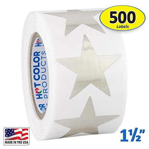 (Silver Metallic Star Shape Foil Sticker Labels, 500 Labels per Roll, 1 1/2 inch Diameter, 1.5
