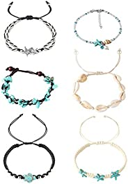 Hanpabum 6Pcs Beach Ankle Bracelets for Women Girls Anklets Adjustable Shell Turtle Starfish Turquoise Charms