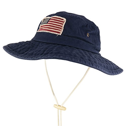 4af93ffd5f606 Armycrew Frayed American Flag Washed Cotton Boonie Hat with Chin Cord