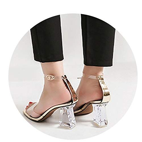Glass Pumps Chunky Runway Clear Strap Heels Sexy PVC Summer Ankle Shoes Peep Toe Transparent Women,Gold,36