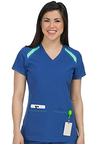 Med Couture Women's 'Activate' V-Neck Color Block Scrub Top, Galaxy/Sea Crystal, Medium