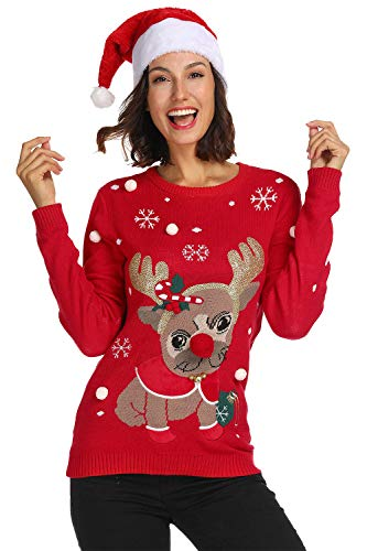 For G and PL Christmas Women Deer Funny Ugly Long Sleeve Sweater Xmas Pug XL=US ()