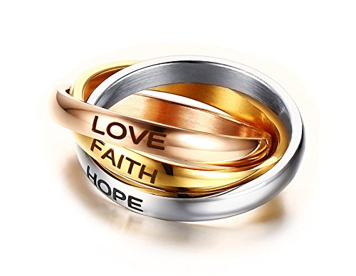 YIKOXI 3MM Stainless Steel Trinity Ring Tri-Tone Interlocked Rolling Eternal Wedding Band for Womens Girls,Size 5-10 (Love+Hope+Faith, 7) 10k Gold Engraved Mothers Ring