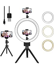10' Ring Light LED Desktop Selfie Ring Light USB Desk Camera Ringlight 3 Colors Light with Tripod Stand iPhone Cell Phone Holder and Double Reservation for Photography Makeup Live Streaming