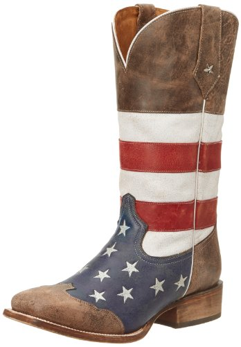 Roper Men's American Flag Square Toe Boot Brown 10 EE - Wide