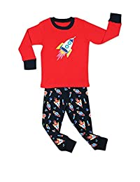 "Elowel Little Boys ""Rocket"" 2 Piece Pajama Set 100% Cotton (6M-8 Years)"