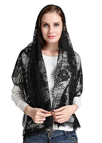 Eyelash Lace Vintage Floral Lace Scarf Lace Chapel Veil Mantilla Infinity Latin Mass S04 (black)
