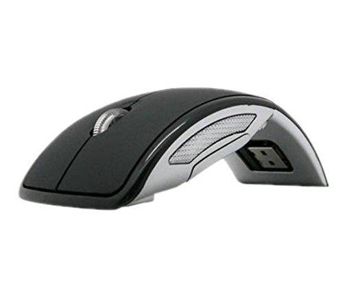 2.4GHz Wireless Foldable Folding Arc Optical Mouse USB for Laptop Black