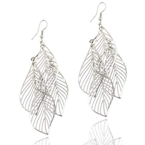 (Silver Tone Hollow Filigree Leaf Cluster Drop Dangle Earrings for Women Girls)