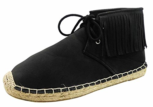 Top Black Fringed Tassles Cowboy Booties for Women Lace Up Mocassin Round Toe Espadrille Casual Walking Spring Western Boot Fun Back to School Uniform Shoe for Young Ladies Teen Girl (Size 8.5, Black) by TravelNut