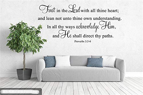 tuopu Wall Words Sayings Removable Lettering Bible Trust in The Lord with All Thine Heart and Lean Not Unto Thine Own Understanding in All Thy Ways Acknowledge Him for Living Room Bedroom