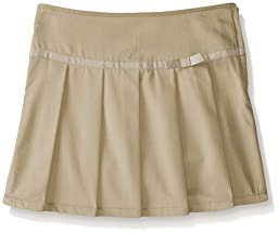French Toast Big Girls\' Pleated Scooter with Gross Grain Ribbon, Khaki, 8