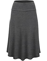 LL Womens Solid Flare Midi Skirt - Made in USA