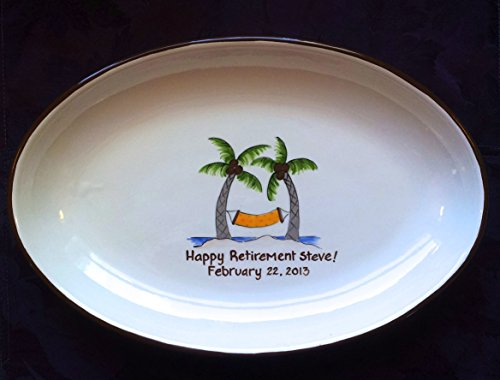 Retirement Gift,Guest Book Alternative Retirement, signature platter retirement, retirement gift, retirement keepsake, guestbook gift _ Palm Tree (Platter Signature Keepsake)