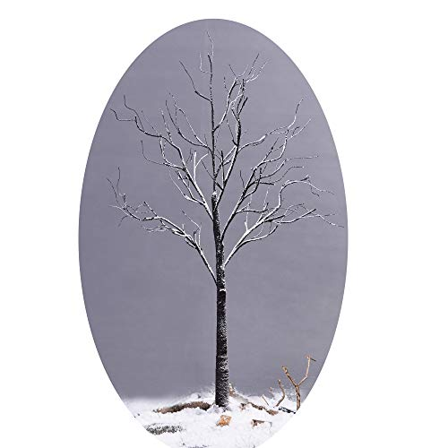 GOJOOASIS 4 Feet Lighted Snow Tree 48 LED Lights Warm White for Home Christmas Wedding Festival Party Decoration,Indoor and Outdoor -