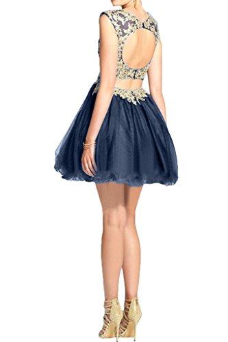 abito abito del Fest Prom sera da applicazione girocollo ivyd Rueckenfrei Donna Mini Dunkelblau Abito partito vestito ressing q0w1UOvwA