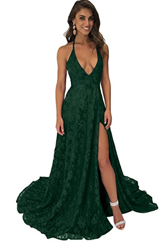 (CL Bridal Women's Spaghetti Straps Plunging V Neck Backless Long Lace Bridesmaid Dress Prom Gown Emerald Green Size 2 )
