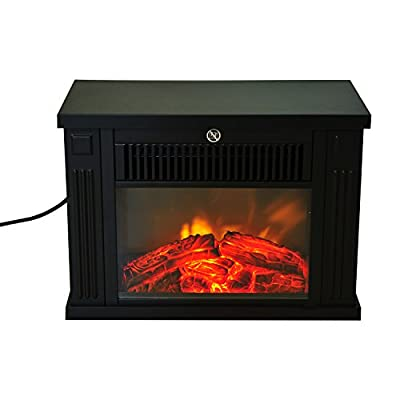 "HomCom 14"" 1000 Watt Freestanding Electric Wood Stove Fireplace Heater - Black"