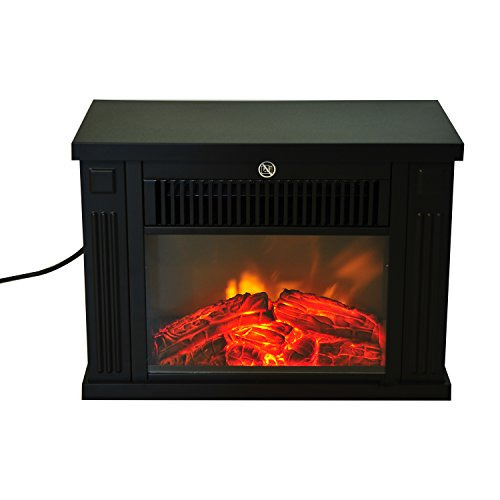 HomCom 14'' 1000W Free Standing Electric Fireplace - Black by HOMCOM