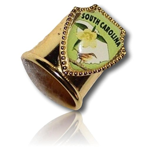 Custom & Collectable {11mm Hgt.x 17mm Dia} 1 Single, Mid-Size Sewing Thimble Made of Fine-Grade Metal w/South Carolina Wren State Bird Flower Gelsemium Sempervirens Map [Gold, Green, White & (South Carolina State Bird)