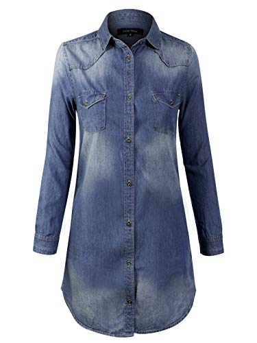 (Instar Mode Women's Vintage Long Sleeve Button Down Chambray Denim Shirt Tunic Dress (S-3XL) Dark Denim S)