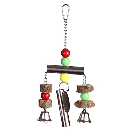 (DETOP Bird Bell Toys Parrots' Cages & Stands Heavy Duty Bite Hanging Craft Wooden Toy for Medium & Large Birds Parakeets Cockatiel African Greys Macaw (Wooden Bells))