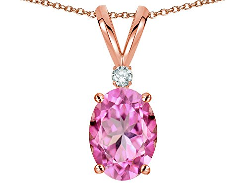 Star K Oval 7x5mm Created Pink Sapphire Pendant Necklace 14 kt Rose Gold
