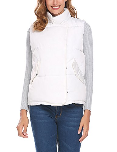 SE MIU Women Stand Collar Zip Up Front Lightweight Quilted Padded Vest White - Miu Miu Buy