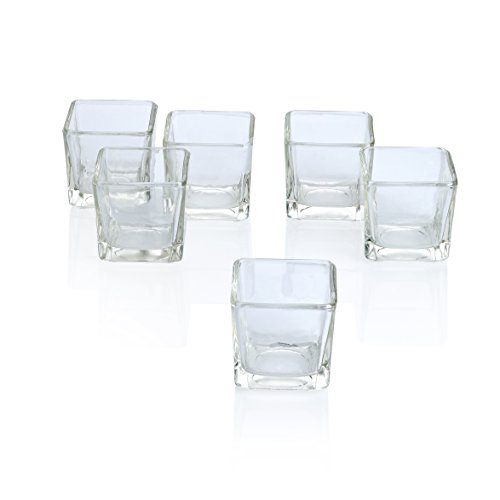 Clear Square Glass Holder - PARNOO Votive Candle Holders Bulk Set of 24 - Glass Votive Tealight Holders - Perfect for Wedding Centerpices, Home Decor (Square Clear)