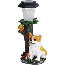 Comolife LED Automatic Solar Powerd Outdoor Lamp, Adorable Corgi , Animal Garden Light , Size : W4.87 x D4.09 x 10.92 Inch