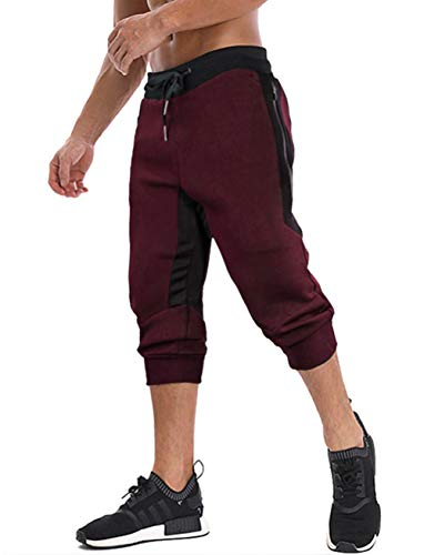 MAGNIVIT Men's Summer Shorts Slim Fit Casual Cotton Capri Pants Pants with Zipper Pockets Burgundy ()