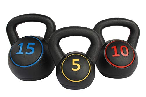 aokung Kettle Bell Set 3-Piece 5lb, 10lb, 15lb Weights for Exercise Fitness Use