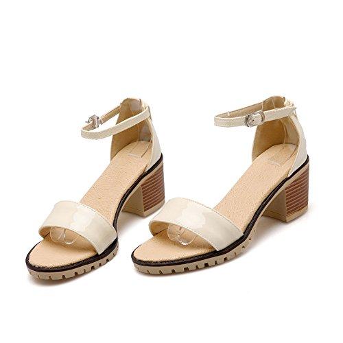 Chunky Womens Heels Urethane Sandals Buckles Beige BalaMasa Toe Metal Peep gpqSw5A5d