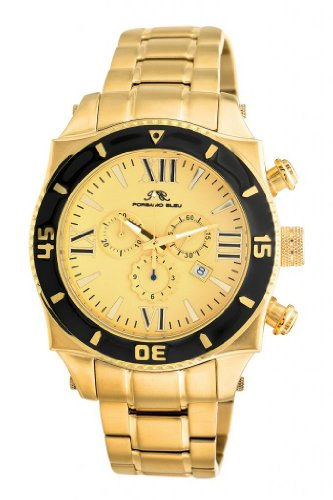 Porsamo Bleu Milan G Stainless Steel Gold Tone & Black Men's Watch 071CMIS
