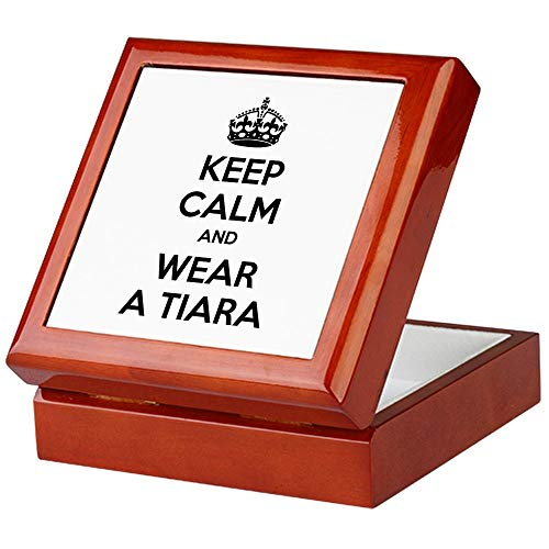CafePress Keep Calm and Wear A Tiara Keepsake Box, Finished Hardwood Jewelry Box, Velvet Lined Memento Box