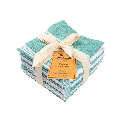- DAILY HOME ESSENTIALS 100% Cotton Terry Dish Cloth, Quick Dry Kitchen Rag, Absorbent Cafe, Bar & Restaurant Cleaning WashCloth. (8 Pack - Aqua)