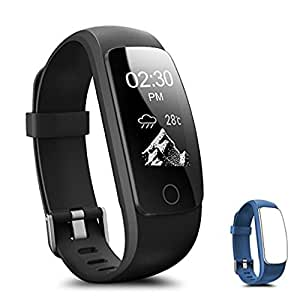 Fitness Tracker, Coffea H7-HR Activity Tracker : Heart Rate Monitor Wireless Bluetooth Smart Wristband Bracelet, Waterproof Fitness Watch with Replacement Band for Android & IOS (Black+Navy Band)