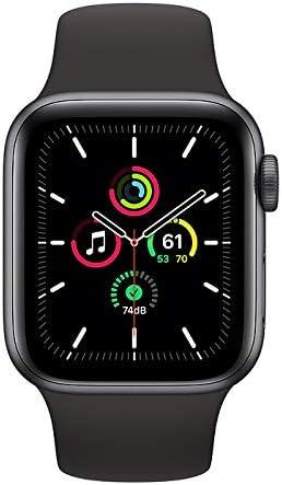 ساعة ابل SE GPS، 40 ملم هيكل من الالمنيوم و سوار رياضي لون اسود - عادي