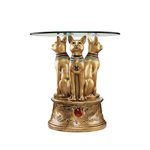 - Design Toscano Royal Golden Bastet Egyptian Side Table