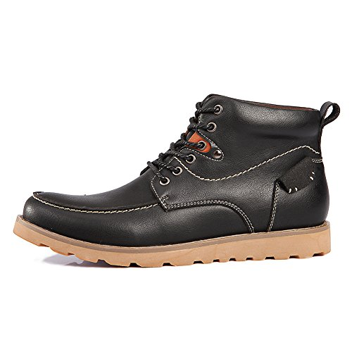 Shenn Mens Ankle Casual Work Space Leather Chukka Boots Black 2sOJZms