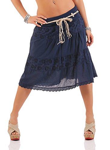 ZARMEXX Señoras midi falda de algodón verano de la falda de la rodilla de longitud con cinturón volantes de algodón falda jean A-line Marina